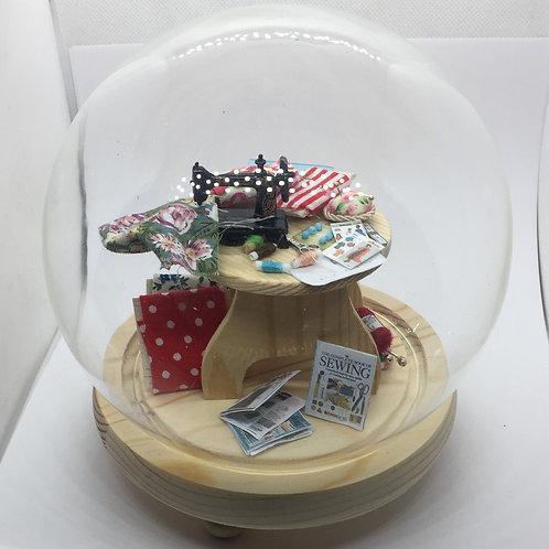 Seamstress Diorama under a Glass Dome