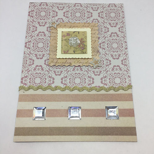 Rectangular Gold and pink patterned and stripe blank card