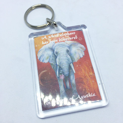 King & I White Elephant Double Sided Keyring