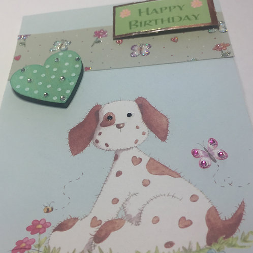 Pepper Dog Green Heart Birthday card