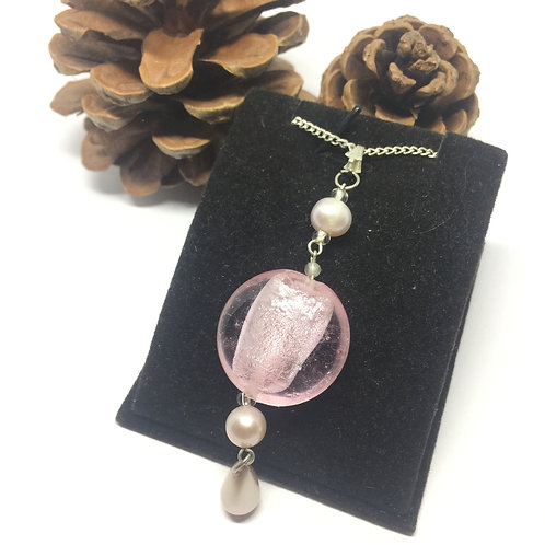 Pale pink disc and pearl drop pendant