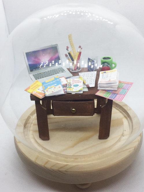 Primary School Teacher Miniature Desk under a dome