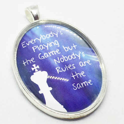 Chess 'Everyones Playing the Game' Oval Pendant