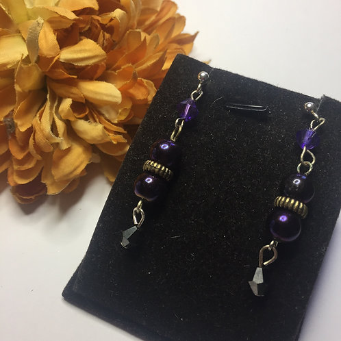 Purple triple bead drop earrings