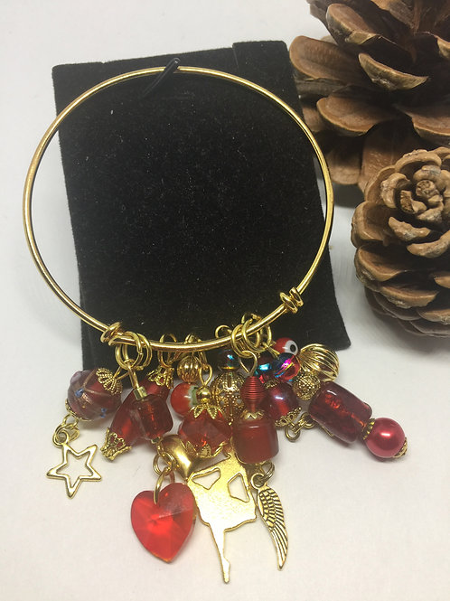Red Multi Beads and Charms Adjustable Gold Bracelet
