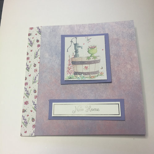 Purple 'Frog in a Barrel' New Home Square card