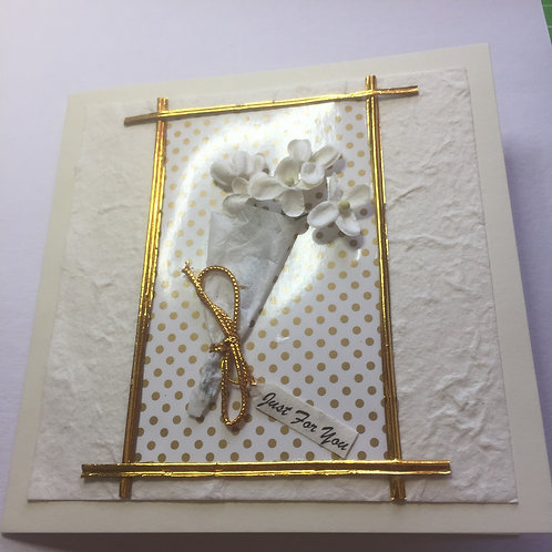 Gold floral 'Just for You' Square card