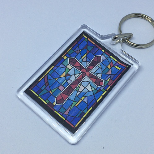 Stained Glass Window Double sided Keyring