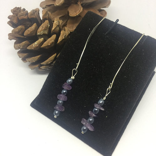 Purple Chip and grey pearl long bow drop earrings