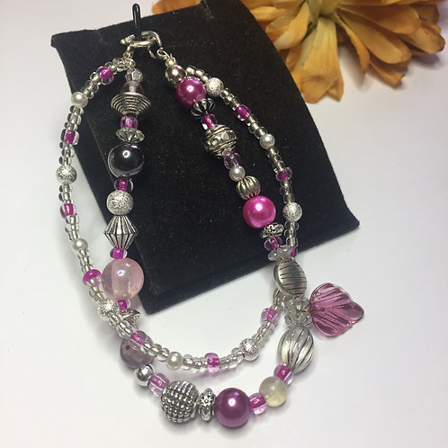 Pink double string beads bracelet