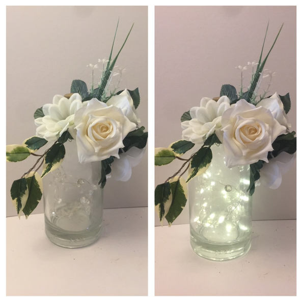 White Floral LED Gin bottle 06