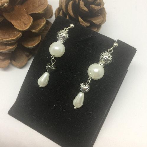 Pearl double teardrop earrings