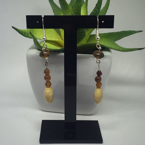 Brown and cream mixed beads drop earrings