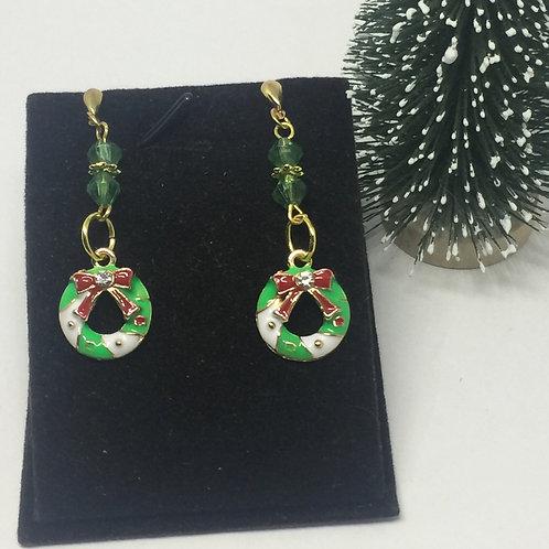 Christmas Green Wreath drop earrings