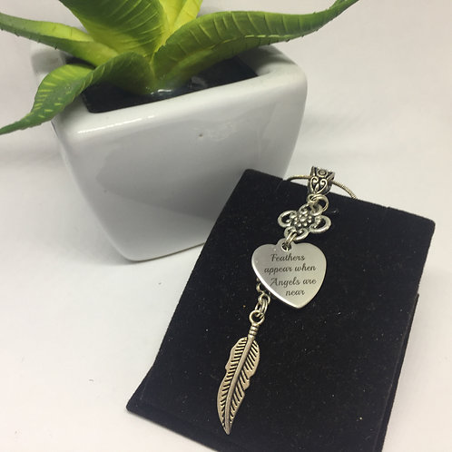 'Feathers Appear when Loved Ones are Near' pendant and chain