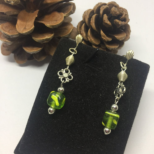 Lime green square clip on earrings