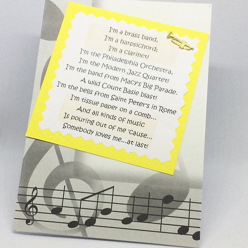 "Sweet Charity ""I'm a Brass Band"" card"