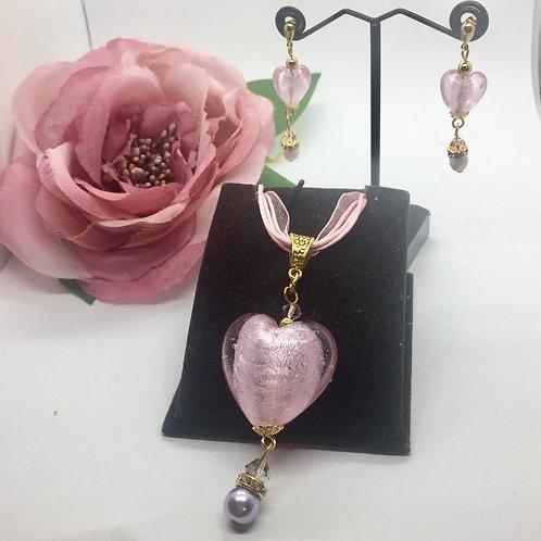 Large Murano glass pink heart jewellery set