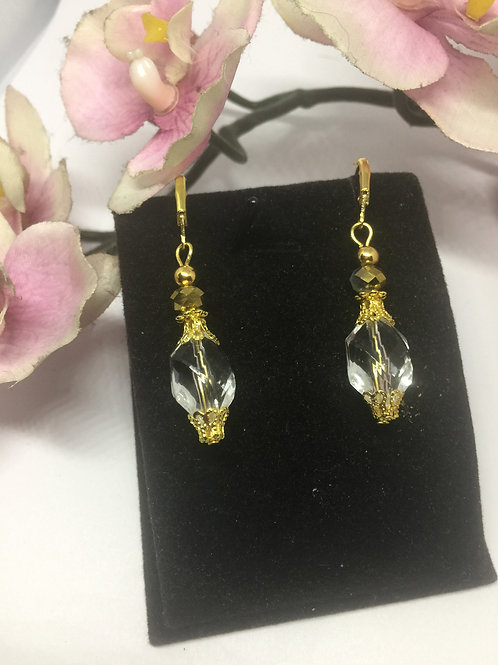 Crystal and Gold oval drop earrings