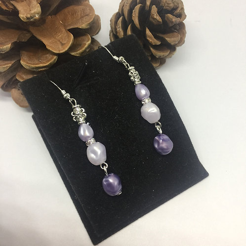 Triple shades of lilac pearl drop earrings