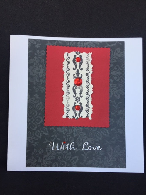 Red and Black 'With Love' Square card