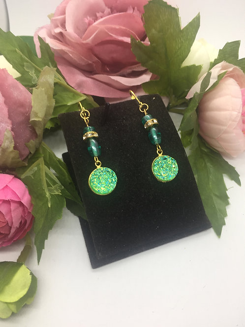 Green Sparkle Druzy drop earrings