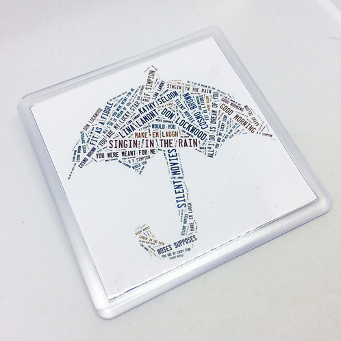Singing in the Rain Words Coaster