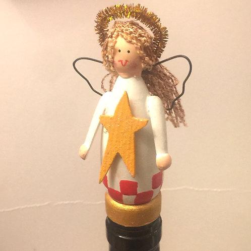 Christmas Angel Wooden Bottle Stopper