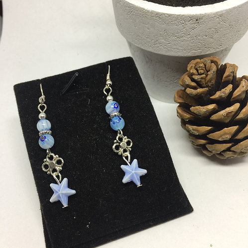 Blue Sea Star drop earrings