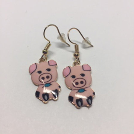 Betty Blue Eyes Pink Pig enamel Drop earrings