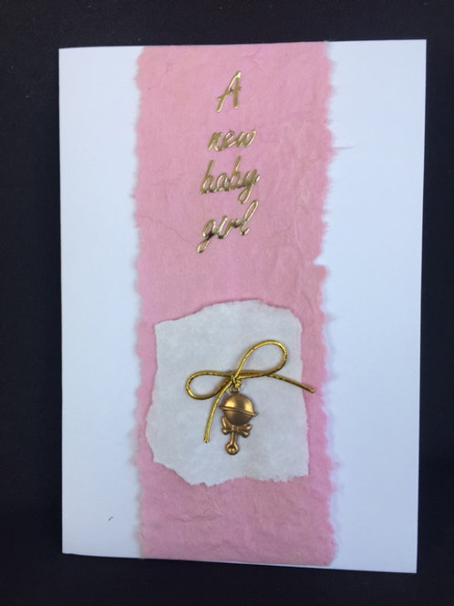 New Baby Girl Gold Rattle card