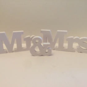 Small 'Mr & Mrs' Wooden Letters