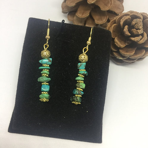 Turquoise chip and gold drop earrings