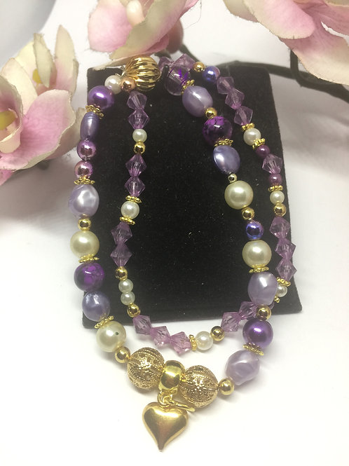 Purple and gold pearls double strand bracelet