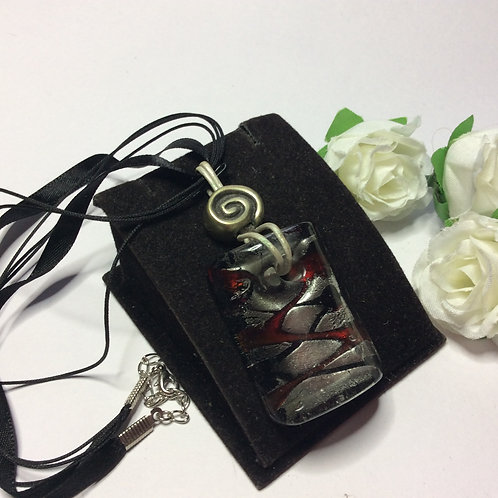 Black, Silver and red rectangular glass pendant on a ribbon necklace