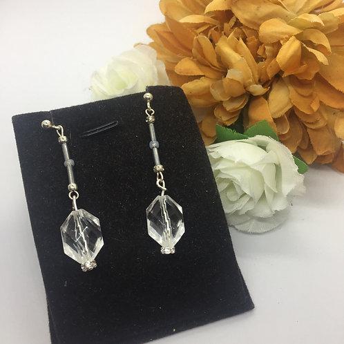 Crystal long bead drop earrings