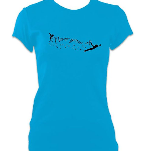 Peter Pan Ladies Fitted Never Grow Up T-shirt
