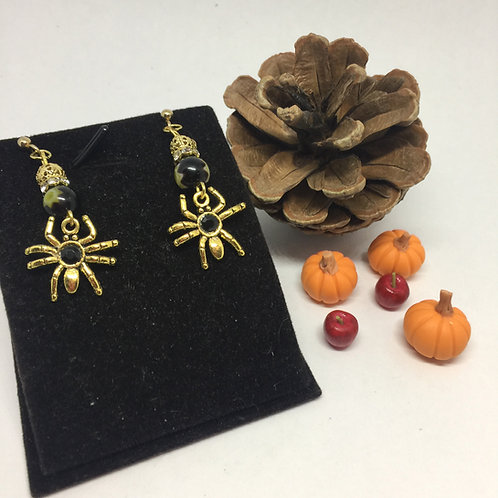 Black and Gold Spider drop earrings