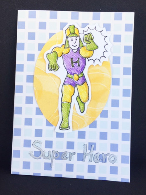 Yellow and blue Super Hero blank card