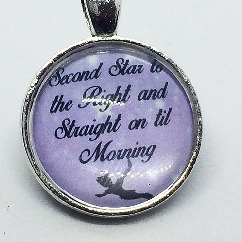 Peter Pan Second Star to the Right Round Pendant