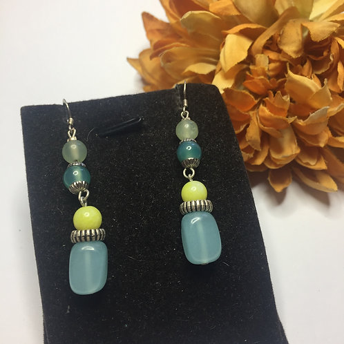 Pale turquoise and citrus yellow drop earrings