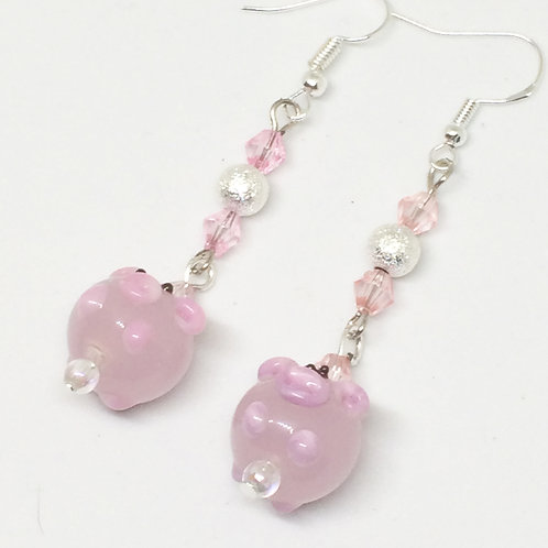 Three Little Pigs - Glass Pig Drop Earrings