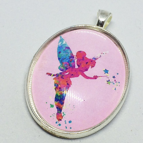 Pink Tinkerbell Oval Pendant