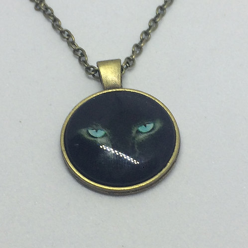 Cats Black Face Bronze Round Pendant