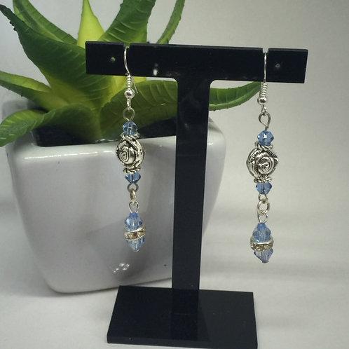 Pale Blue Crystal and Rose drop earrings