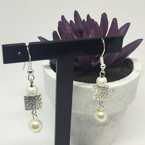 Pearl and silver square drop earrings
