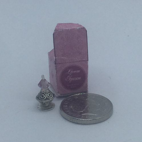 Miniature dolls house pink perfume box and bottle