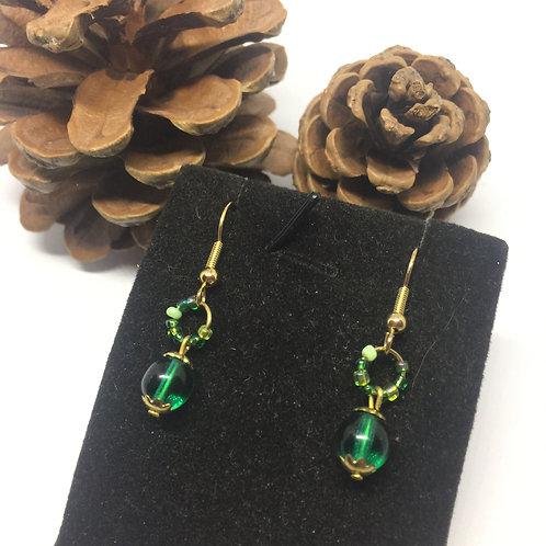 Bright green drop earrings