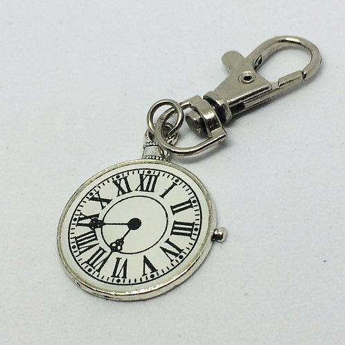 9 to 5 Enamel Clock Keyring