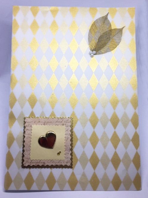 Gold diamond and hearts large blank card
